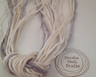 Hand Dyed Silk Ribbon - Silk Cord - DIY - Jewelry Supplies - Wrap Bracelet - Craft Supplies - 2mm Silk Cord Strands Pale Wedding Palette