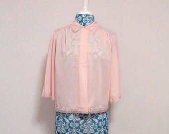 vintage 1960's pink bed jacket // Shadowline lingerie // chiffon lace trim