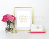 Styled Stock Photography - INSTANT DOWNLOAD - Stock Photo - Gold Frame with Pink Flowers - Product Photography - Digital Image