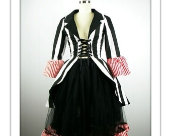 Ringmaster Costume, Striped Ringleader Costume, Women's Ringmaster Jacket, Circus Costume, Striped Costume, Halloween Costume