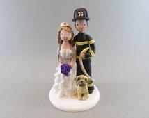 Firefighter & Nurse Customized Wedding Cake Topper