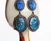 Large Blue Fish Scale Earrings Vintage Iridescent Dragon Scale Chunky Glamorous Jewelry Blue Glass Dangle Earring