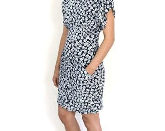 Blue & White Patterned 80's Mini Dress