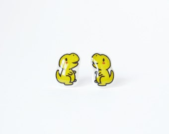 T-Rex Stud Earrings - Dinosaur, Lime, Stainless Steel, Posts, Trex, Resin, Tiny, Illustrated, Green, Small, Cute, Custom