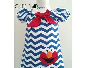 Elmo Dress, Sesame Street Elmo Dress, Elmo Birthday Dress, Navy Blue Chevron Dress, Elmo Outfit, Fully Lined Dress, Made to Order 12M-3T