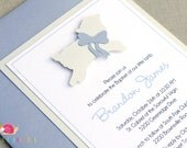 Lamb of God Invitations · BLUE A2 LAYERED · Bluebell and Cream Shimmer · Christening | Baptism | Dedication | First Holy Communion