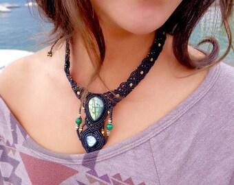 Labradorite and Moonstone Macrame Necklace | Double Pendant | Micro-Macrame | Unisex, Healing Crystal Jewelry