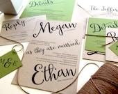 Reserved for Hannah Bowdoin, Balance of Angled Script Wedding Invitations