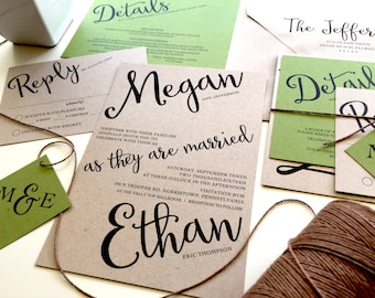 Angled Script Wedding Invitation Set, Twine Kraft Paper Rustic Invitation Cursive Invitations Green Brown Recycled Wedding Invitation
