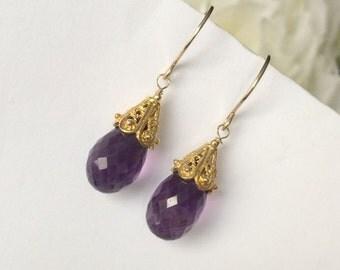 Amethyst Drop Earrings Purple Gold Dangle Earrings Wire Wrap Gold Filled Amethyst February Birthstone Amethyst Minimalist Dangle Earrings
