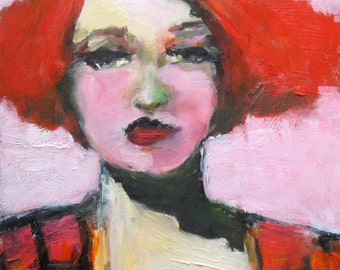 Giclee Print, Oil Painting Print, Red Hair, Red and Black, Pink and Green, Free Shipping, Wall Art, Female Portrait, Big Eyes, Portrait Art