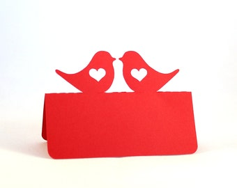 Love Birds Place Cards heart Set of 50, Wedding place cards