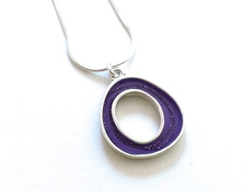 Purple nest necklace , abstract , silver , resin