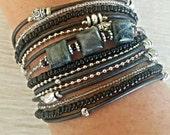 Leather Wrap Bracelet// Beaded Wrap Bracelet// Jasper Gemstone Bracelet// Boho Jewelry// Leather Gift