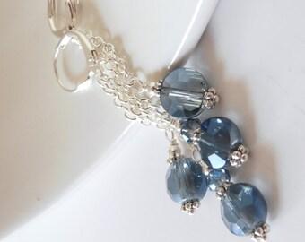Denim Blue Earrings, Faceted Glass Beaded Dangles, Blue Wedding Jewelry, Bridesmaid Earrings, Bridesmaid Gift, Long Delicate Dangles, Silver