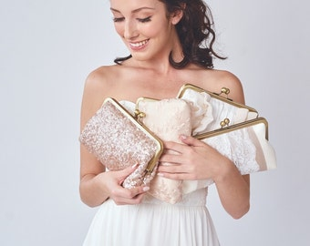Bridesmaid Clutch Set | Personalized Gift for your Bridesmaids | Set of Clutches | Wedding Clutch [Set of 4 Clutches: Blush & Champagne]
