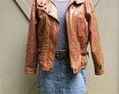 80s vintage Distressed Sienna Brown Leather Bomber Jacket / Adventure Bound by Wilson