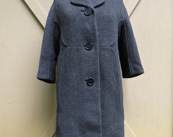 Mid Century vintage Elegant Charcoal Grey Wool Coat with Black Velvet Collar / Monarch New York