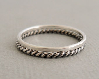 Sterling Silver Rings Stacking Ring Set oxidized silver Thumb Rings - set of 2 - gifts for women