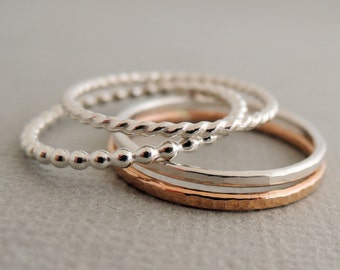 Rose Gold Ring Sterling Silver Rings 4 thin mixed stacking rings