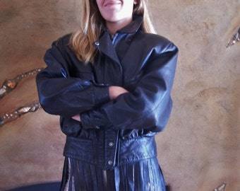 Leather Jacket, Black leather jacket, motorcycle jacket, biker jacket, Luis Alvear jacket, size S