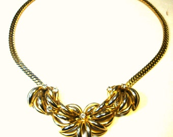 Gold Flowers n Rhinestone Bib on Flat Gold Chain Necklace, 1980s Elegance
