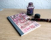 Pocket Travel Journal 31 - Writer's Notebook, Upcycled Postage Stamp Art, Snail Mail Collage - Boho Hippie Pink Ombre, Lined A6 Memory Book