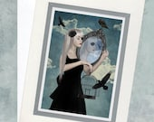 Greeting Card  - Girl Holding Mirror & Blackbirds - Reflection