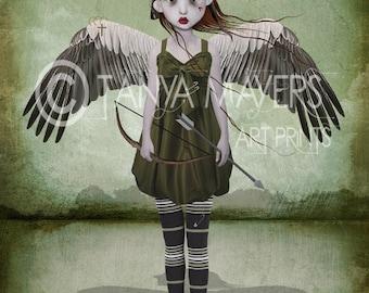 Steampunk Art Print - Big Eyed - Angel Of Love - Cupid
