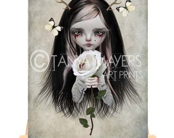 ACEO Card - Fairytale - Rose Red - Big Eyed Girl Art - Portrait