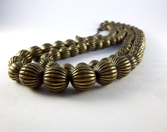 Vintage Antique Bronze Bead Necklace - Vintage Metal Bead Necklace