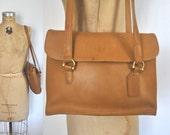 Coach Messenger Bag / Satchel Purse / Tan Brown leather