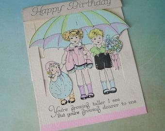 Vintage Growing Taller Children Mechanical Birthday Greeting Card