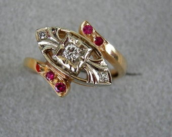 14K  Gold, Diamond  and Ruby Victorian Ring - Diamond And Ruby Multi Stone Ring  REDUcED