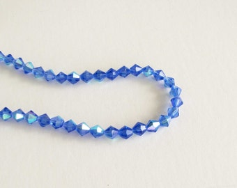 6mm Glass Bead Faceted Bicone Pink AB necklace bracelet jewelry supply