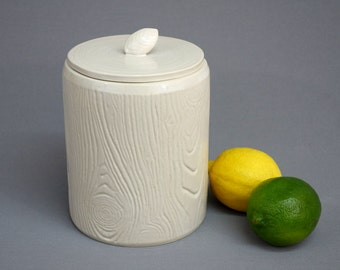 Faux Bois Lidded Container: Porcelain Wood Grain Cookie Jar