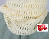 SALE Infinity Scarf, Pastel Yellow, Ready to Ship