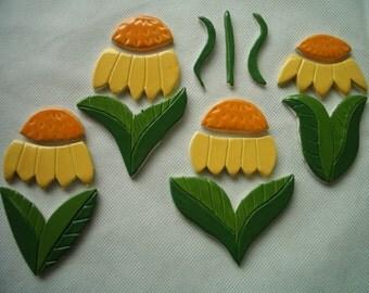J15 - YELLOW/Orange FLOWERS Set - Ceramic Mosaic Tiles