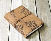 Leather Travel Journal with Block Printing Design