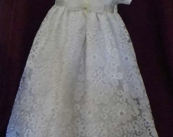 Caroline Ivory waisted linen and embroidered organza christening, baptism, blessing gown
