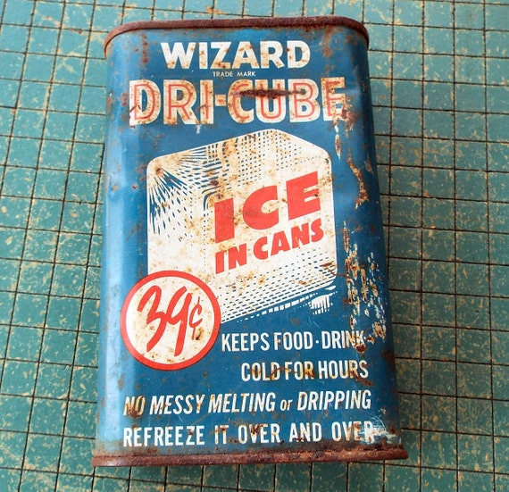 wizard dri cube ice in cans its dry cold vintage 1950s