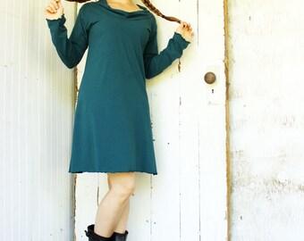 Organic Long Sleeve Mini Cowl Tunic Dress - Made to Order - Organic Fabric - Choose Your Color