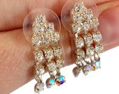 Rhinestone Earrings, Vintage Earrings, Dangle Earrings, Vintage Jewelry, Pierced Posts, Wedding Earrings, Clear Rhinestone, Dangle Earrings