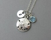 Sand Dollar Necklace - Ocean Beach Necklace, Personalized Initial Name, Customized Swarovski crystal channel birthstone