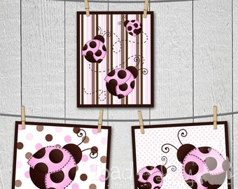 Set of 3 Mod Ladybugs Girls Bedroom Nursery 8x10 ART PRINTS