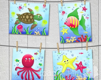 Set of 4 Girly Ocean Creatures Girls Bedroom Bathroom Baby Nursery 8 x 10 Wall ART PRINTS