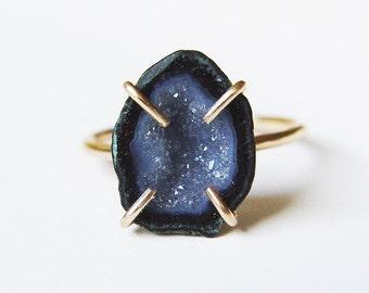 SALE Black Geode Druzy Ring Gold Filled