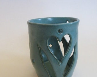 Luminary or Candle Holder, Votive, Hearts, Green, IN STOCK, Home Decor, Elegant Hostess Romance Gift, Stoneware Pottery, Votive No. 11