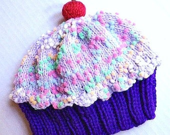 Handmade hand knit Cupcake Hat with Cherry on Top with Plum Purple Cake and Lavender Grape Sprinkle Frosting
