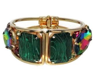 Hinged Clamper Bracelet, Watermelon Rhinestone, Flawed Emerald, Vintage 1960